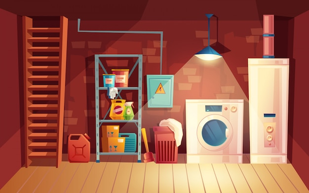 Keller innenraum, wäsche im keller im cartoon-stil. Kostenlosen Vektoren