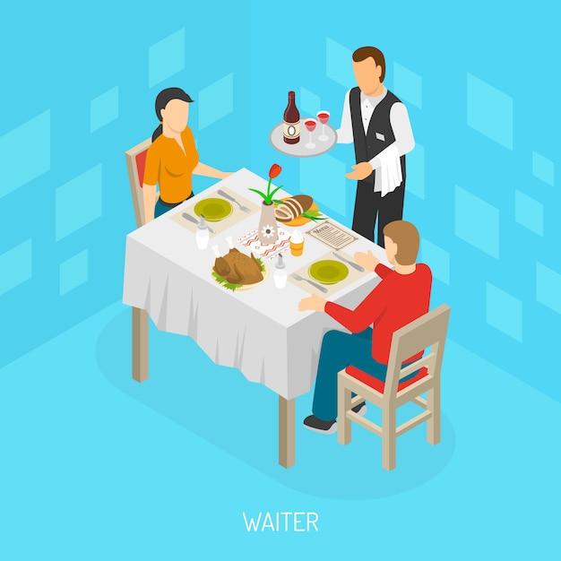 Kellner, der kunden isometrisches plakat dient Kostenlosen Vektoren