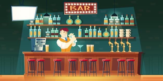 Kellner in mischendem cocktail der bar im schüttel-apparat auf zähler Kostenlosen Vektoren