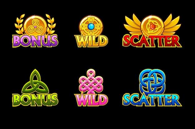 Keltische ikonen. symbole wild, bonus und scatter. für spiel, slots, spieleentwicklung. Premium Vektoren