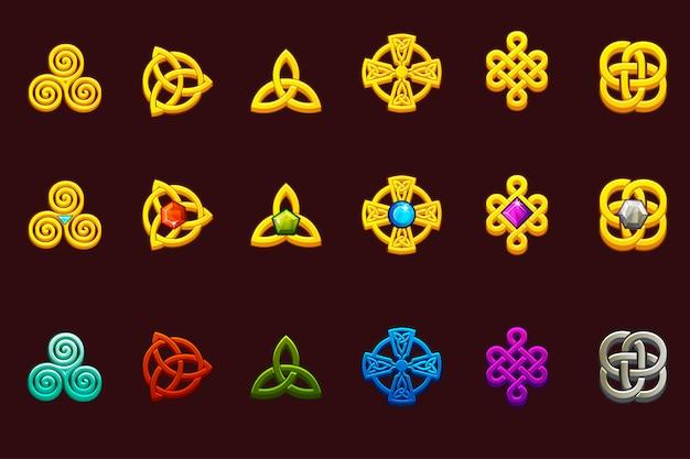 Keltische symbole in verschiedenen variationen. keltische ikonen des karikatursatzes. Premium Vektoren