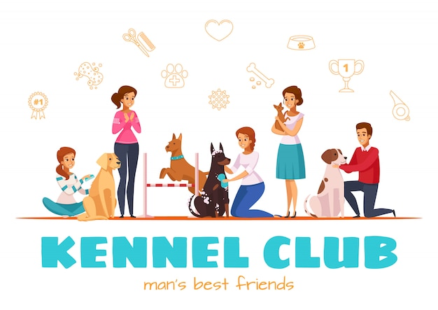 Kennel club-vektor-illustration Kostenlosen Vektoren