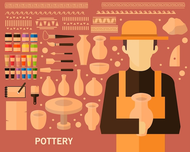 Keramik-konzept hintergrund Premium Vektoren
