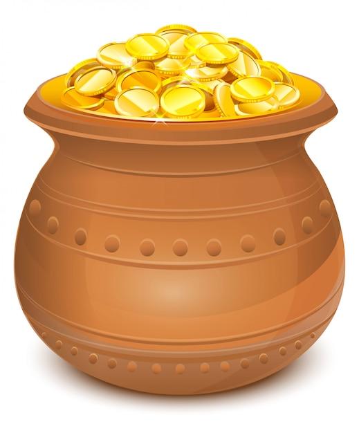 Keramiktopf mit goldmünzen Premium Vektoren