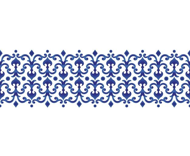 Keramische linie design der nahtlosen grenzen japan und chinesische art Premium Vektoren