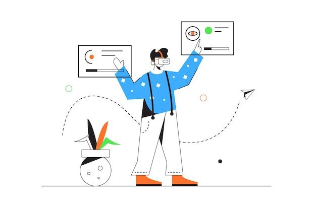 Kerl in der virtuellen brille, die sich mit dateien auf virtuellen fliegenden anzeigen befasst, lokalisiert auf weißem hintergrund, flache illustration Premium Vektoren