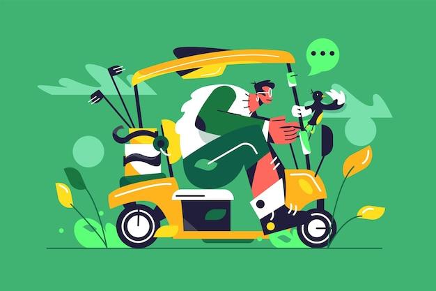 Kerl mit brille reitet ein großes golfauto, kisten von golfschlägern, vogel hält an handlauf lokalisiert auf grünem hintergrund, flache illustration Premium Vektoren