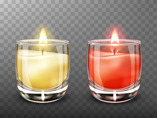 Kerze in der realistischen illustration des glasgefäßes Kostenlosen Vektoren