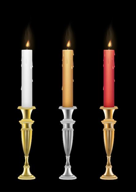 Kerze mit Kerze Vintage-Halter | Download der Premium Vektor