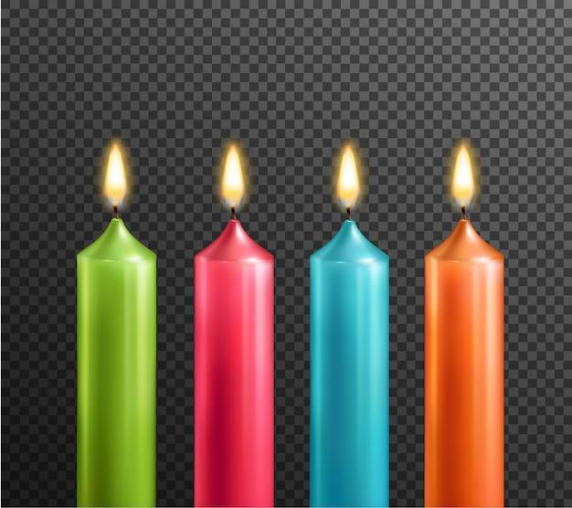 Kerzen auf realistischem satz des transparenten hintergrundes Kostenlosen Vektoren