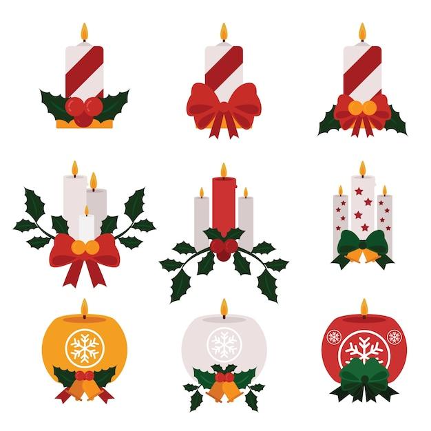Kerzen mit flachem design des bandes und der mistel Kostenlosen Vektoren