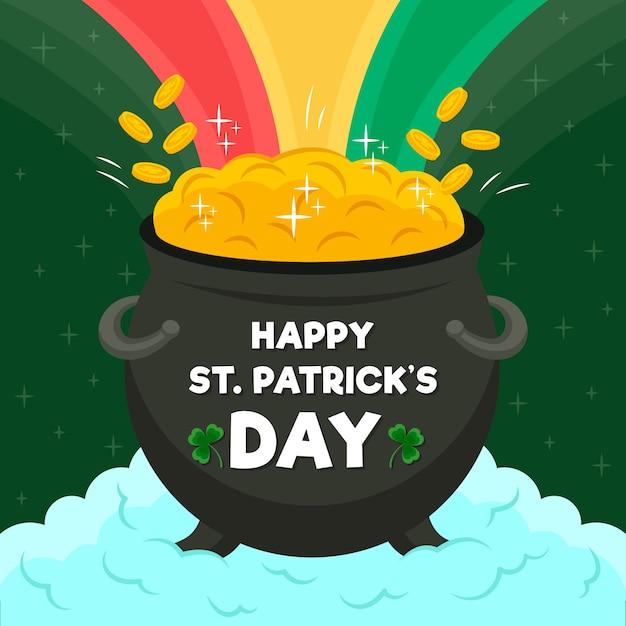 Kessel mit münzen und regenbogen st. patrick's day Kostenlosen Vektoren