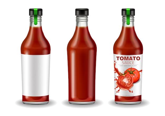 Ketchup flaschenset mockup Premium Vektoren
