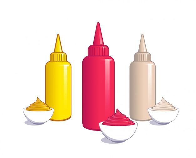 Ketchup, senf und mayonnaise. Premium Vektoren