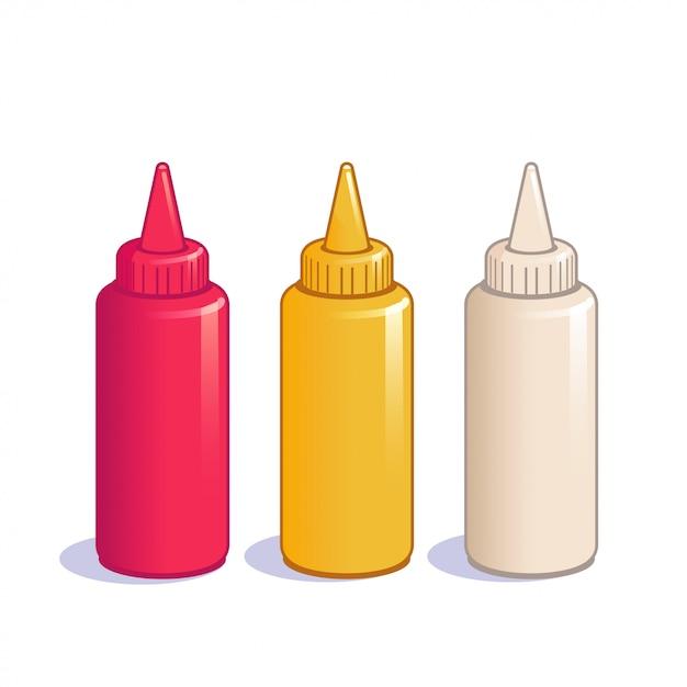 Ketchup-, senf- und mayonnaiseflaschen. Premium Vektoren