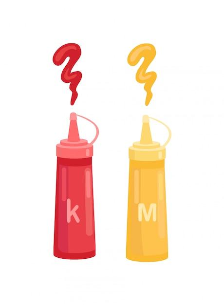Ketchup und senf in der flasche vector cartoon icon Premium Vektoren