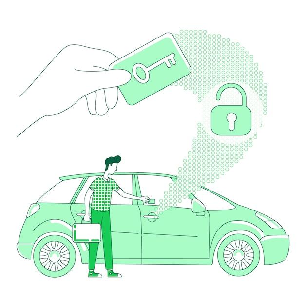 Keycard scan thin line konzept Premium Vektoren
