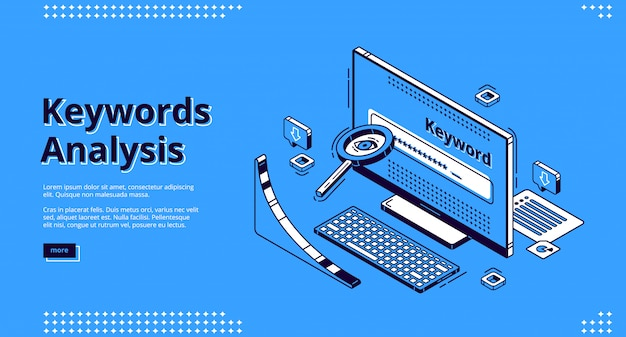 Keyword-analyse seo tool isometrische landing page Kostenlosen Vektoren