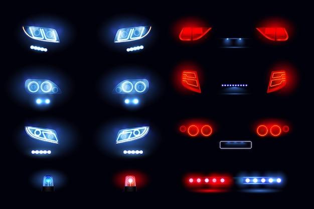 Kfz-led-lichter realistisches set mit scheinwerferstangen vorne hinten autoansichten, die in der dunkelheit vektorillustration leuchten Kostenlosen Vektoren