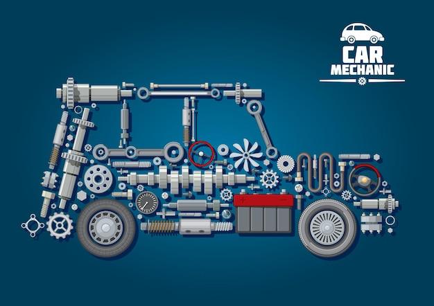 Kfz-mechaniker mit lenkrädern, kurbelwelle, batterie, getriebe, tachometer, achsen, dichtungen und kupplung, kühlerlüfter, bremssystem. Premium Vektoren