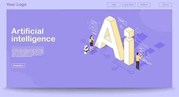 Ki isometrische webseitenvektorschablone mit isometrischer illustration Premium Vektoren