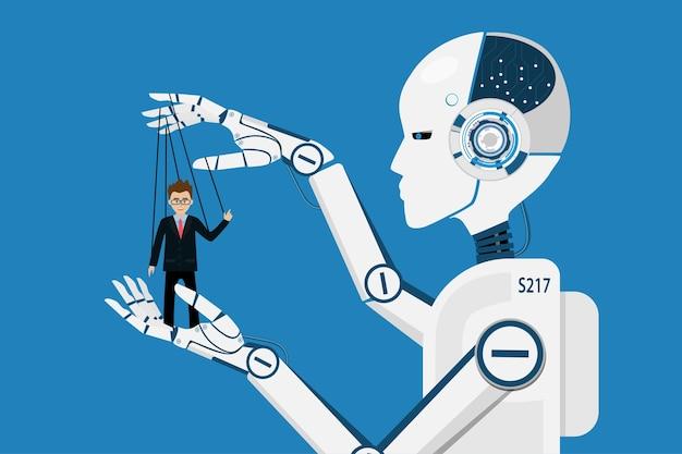 Ki-roboter, der marionettengeschäftsmensch kontrolliert. Premium Vektoren