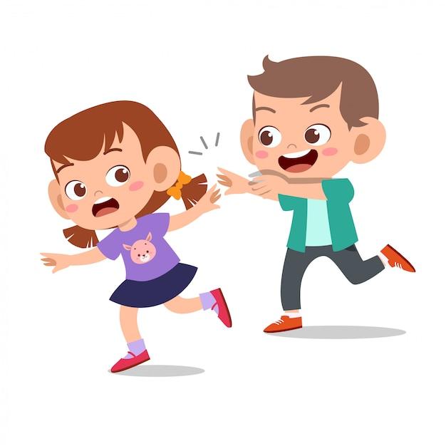 Kid bully freund schlechtes benehmen nicht gut Premium Vektoren