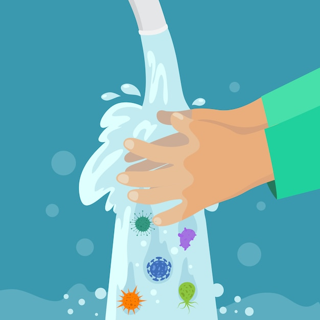 Kid hände waschen. saubere hand ohne keime und bakterien unter dem wasserhahn. handwäsche der kinder, virenschutz-vektorkonzept Premium Vektoren