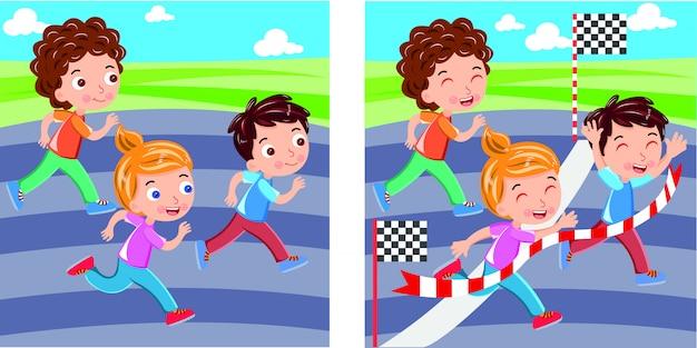 Kids marathon läuft bis zur ziellinie Premium Vektoren
