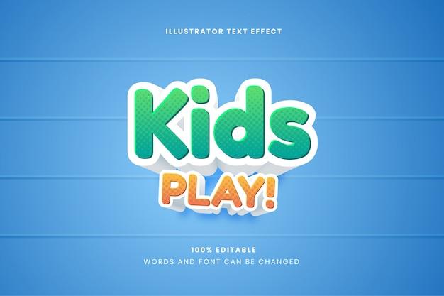 Kids play bearbeitbarer texteffekt Premium Vektoren