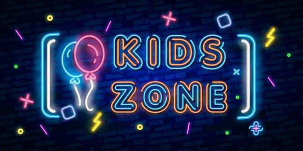 Kids zone leuchtreklame, helles schild Premium Vektoren