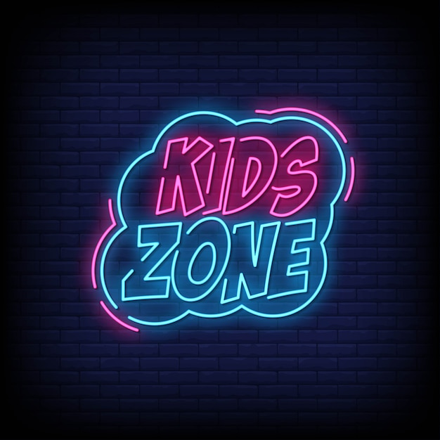Kids zone neon signs style text Premium Vektoren