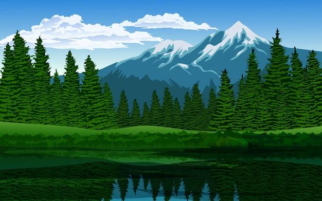 Kiefernwald am see mit berg Premium Vektoren