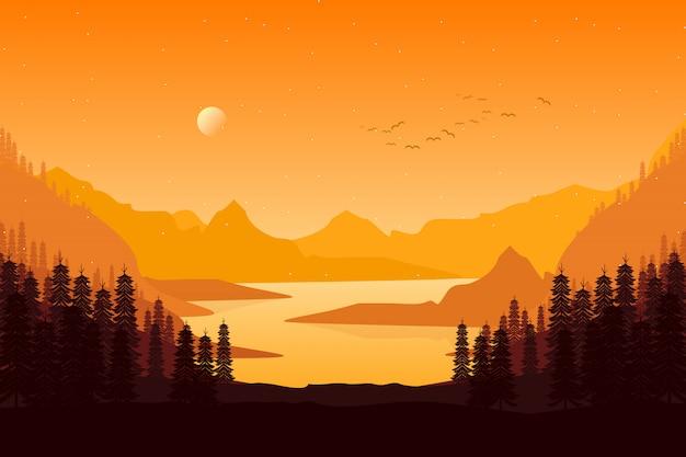 Kiefernwaldlandschaft im abendsonnenuntergang mit gebirgshimmelillustration Premium Vektoren