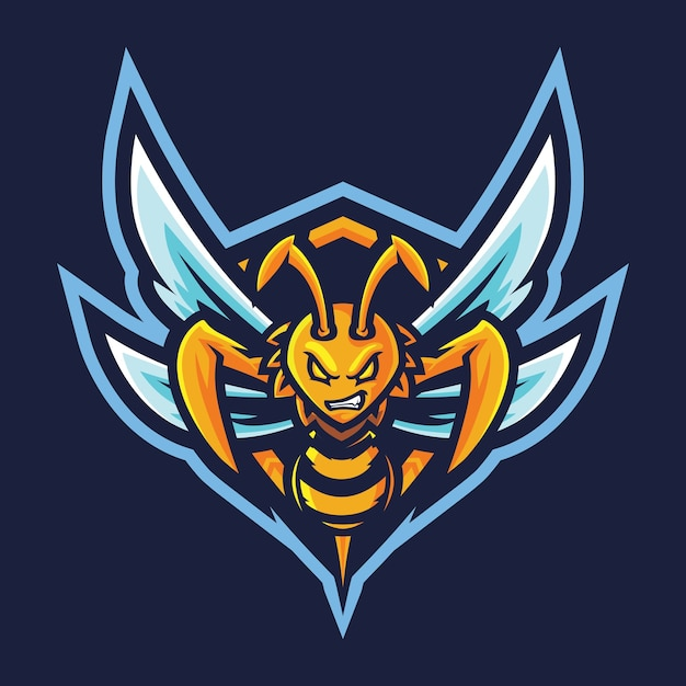 Killer bee esport logo illustration Premium Vektoren