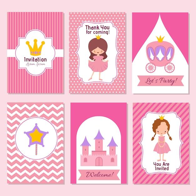 Kind alles gute zum geburtstag und prinzessin party rosa einladungsvorlage Premium Vektoren
