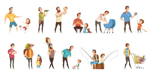 Kind-aufzuchteinkaufen der vaterschaft, das gehendes fischen mit retro- karikaturikonen der kinder 2 spielt, die eingestellte fahnen lokalisierten vektorillustration Kostenlosen Vektoren