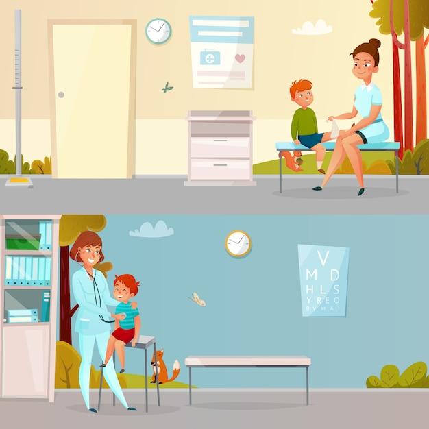 Kind besucht doctor cartoon banner Kostenlosen Vektoren