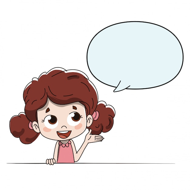 Kind, das anweisungen mit einem komischen gobo spricht oder gibt Premium Vektoren