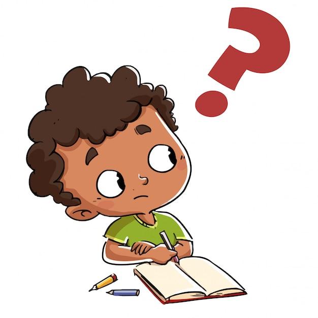 Kind, das eine frage mit einem fragezeichen hat Premium Vektoren