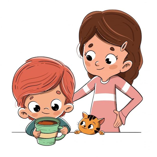 Kind, das frühstückt oder einen snack mit der familie hat Premium Vektoren