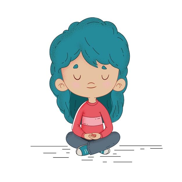 Kind, das ruhig meditiert Premium Vektoren