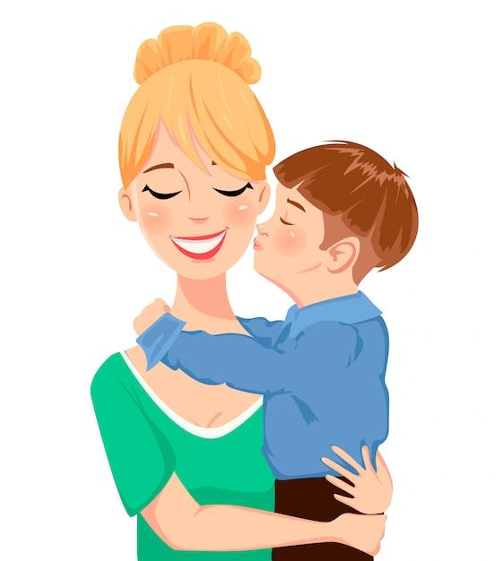 Kind, das seine mutter umarmt und küsst Premium Vektoren