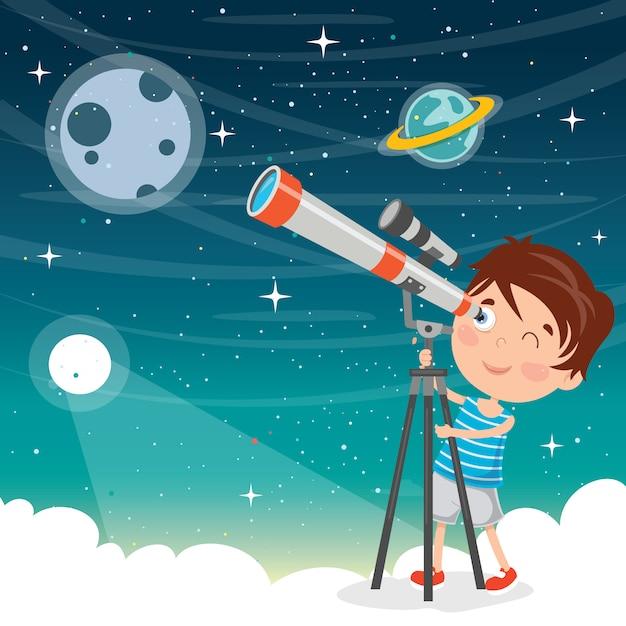 Kind, das teleskop für astronomische forschung verwendet Premium Vektoren