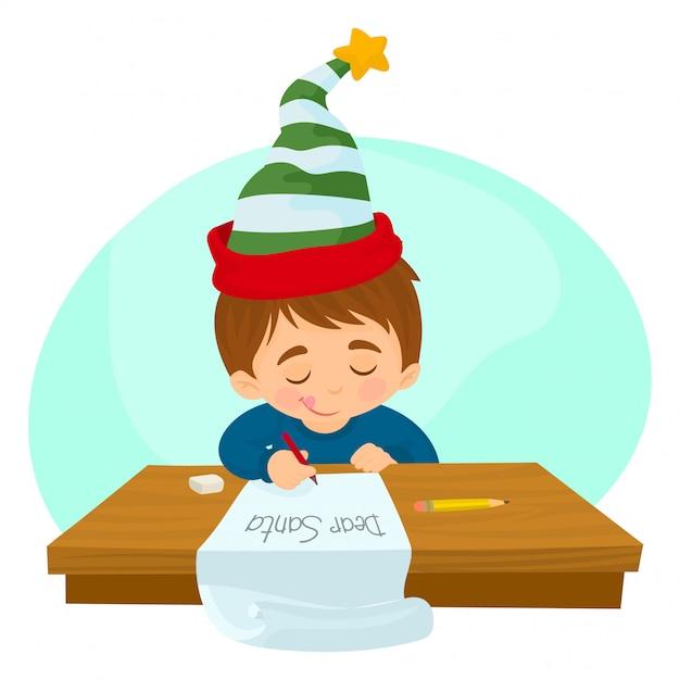 Kind einen brief an den weihnachtsmann schreiben Premium Vektoren