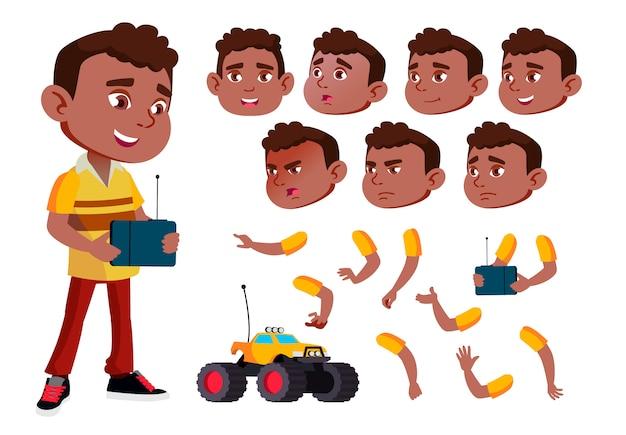 Kind junge charakter. afrikanisch. erstellungskonstruktor für animation. gesichtsemotionen, hände. Premium Vektoren