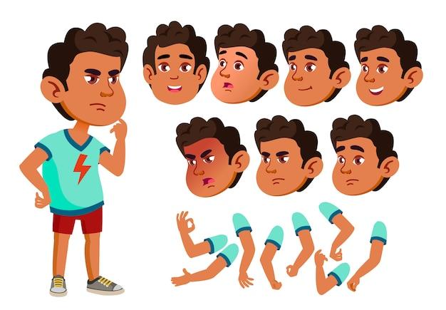 Kind junge charakter. araber. erstellungskonstruktor für animation. gesichtsemotionen, hände. Premium Vektoren