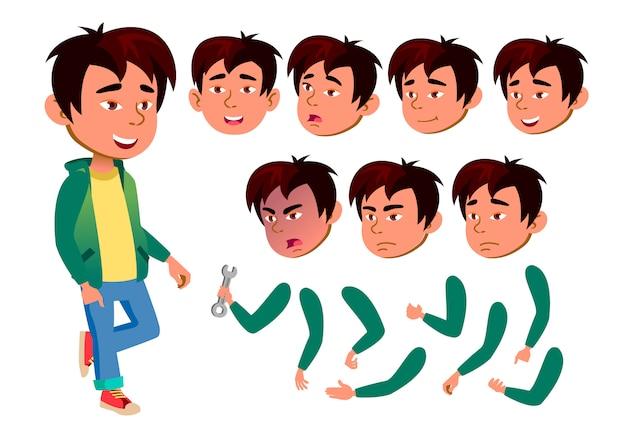 Kind junge charakter. asiatisch. erstellungskonstruktor für animation. gesichtsemotionen, hände. Premium Vektoren