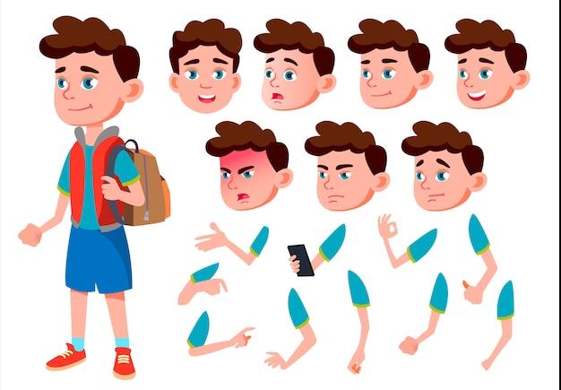 Kind junge charakter. europäisch. erstellungskonstruktor für animation. gesichtsemotionen, hände. Premium Vektoren