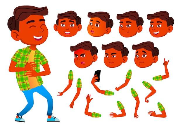 Kind junge charakter. indisch. erstellungskonstruktor für animation. gesichtsemotionen, hände. Premium Vektoren